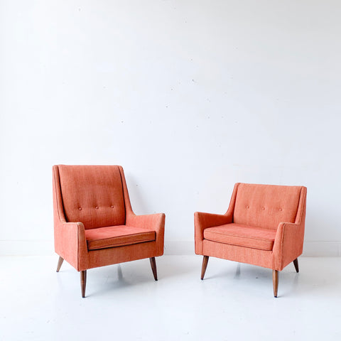 Pair of Mid Century Modern Lounge Chairs with Light Orange Upholstery