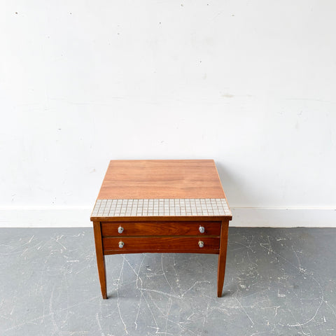 Mid Century Modern Tile Top End Table by Lane
