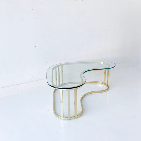 Amoeba Shaped Brass and Glass Coffee Table