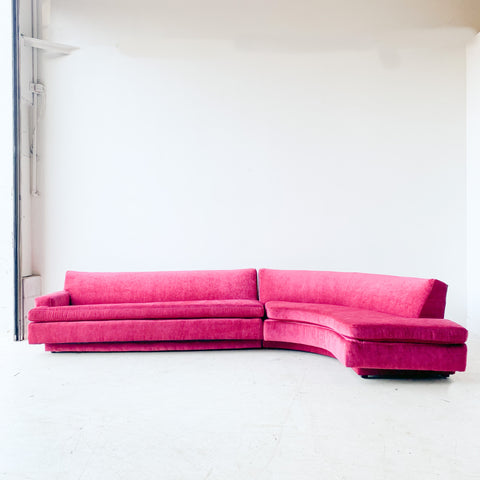 Mid Century Modern 2 Part Sectional w/ New Fuchsia Upholstery