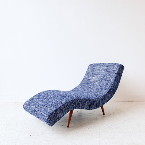 Mid Century Wave Chaise with New Upholstery