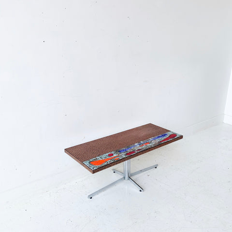 Mid Century Modern Danish Tile and Copper Stamped Coffee Table