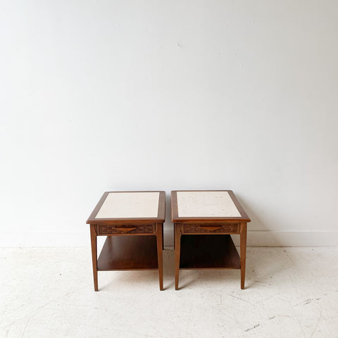 Pair of End Tables with Travertine Tops
