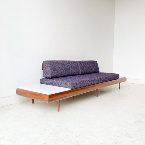 Mid Century Modern Platform Sofa with Marble End Tables and New Upholstery