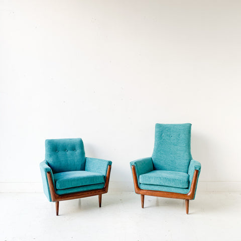Pair of Mid Century Modern Lounge Chairs with New Upholstery
