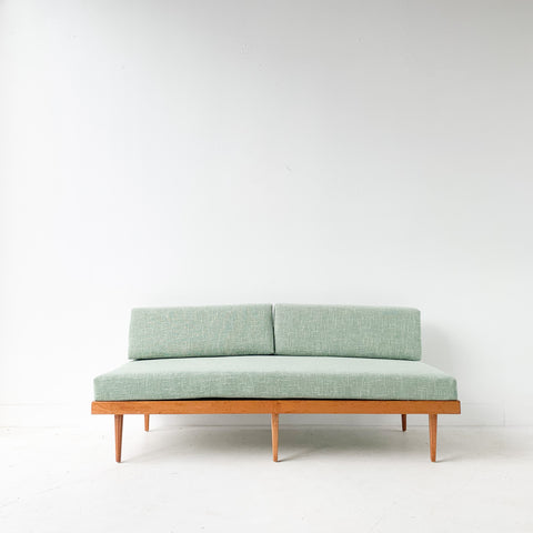 Mid Century Mahogany Sofa/Daybed with New Upholstery