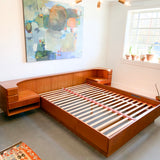 Mid Century Modern Danish Teak Queen Size Platform Bed with Floating Nightstands