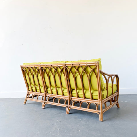 Mid Century Modern Rattan Sofa With New Upholstery Atomic