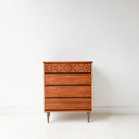 Mid Century Modern Highboy Dresser by Bassett