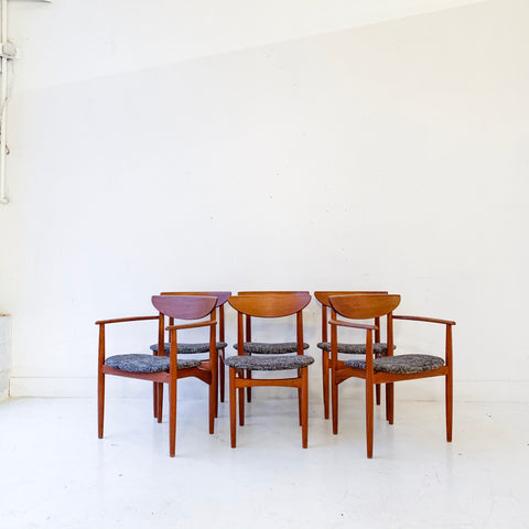 Set of 6 Kurt Ostervig Danish Teak Dining Chairs with New Upholstery
