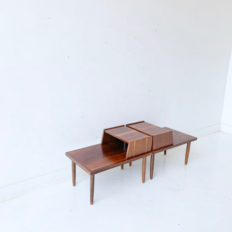 Pair of Mid Century Modern Walnut Step Tables