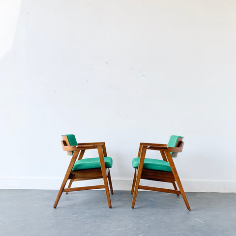 Pair of Gunlocke Chairs with New Green Upholstery