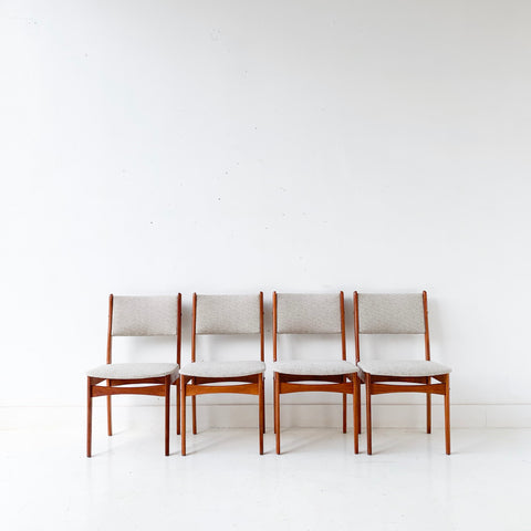 Set of 4 Mid Century Danish Teak Dining Chairs with New Upholstery