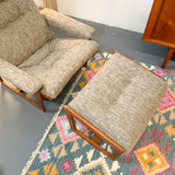 Mid Century Lounge Chair and Ottoman with New Upholstery