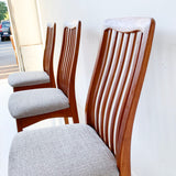 Set of 6 Sculpted Teak Dining Chairs with New Upholstery