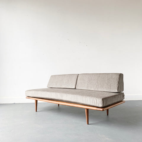 Mid Century Sofa/Daybed with Greige Upholstery