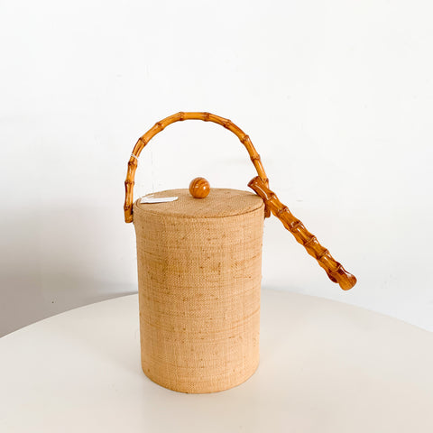 Vintage Ice Bucket Grass Cloth And Bamboo W/ Ice Tongs