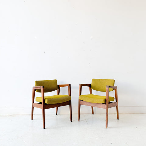 Pair of Mid Century Modern Gunlocke Occasional Chairs with New Green Upholstery