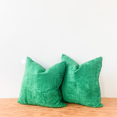 "Pair of 22"" Kelly Green Chenille Pillows"