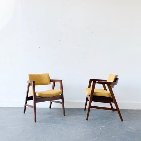 Pair of Gunlocke Chairs with New Mustard Tweed Upholstery