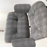 Mid Century Plycraft Lounge Chair and Ottoman with New Grey Upholstery