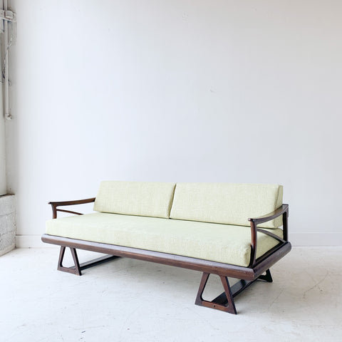 Mid Century Sofa with New Green Upholstery