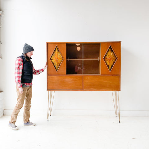 Mid Century Modern Curio Cabinet/Bar with Sliding Doors