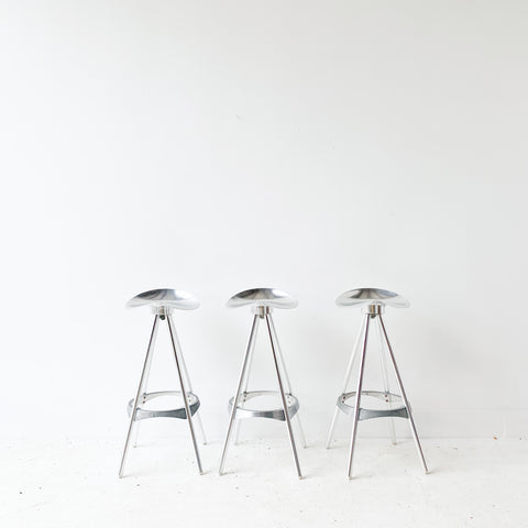 Set of 3 Vintage Aluminum Stools