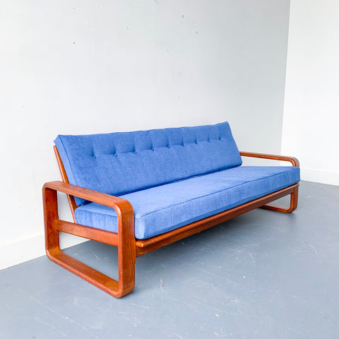 Vintage Bentwood Teak Sofa with New Upholstery