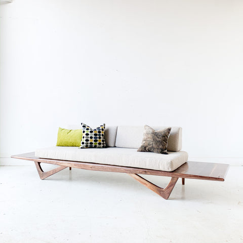 Black Walnut Platform Sofa with Floating End Tables by atomic