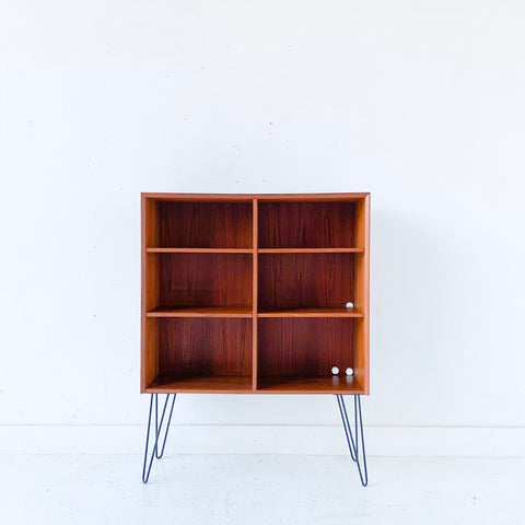 Danish Teak Curio Cabinet on Hairpin Legs