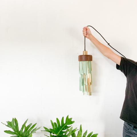 Handcrafted Pendant Lamp in Brass and Mint Powdercoat (with upcycled Teak)