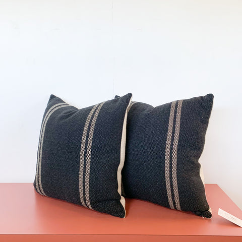Pair of Black and Cream Stripe Pillows