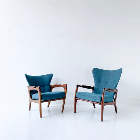 Pair of Adrian Pearsall Lounge Chairs with New Teal Upholstery