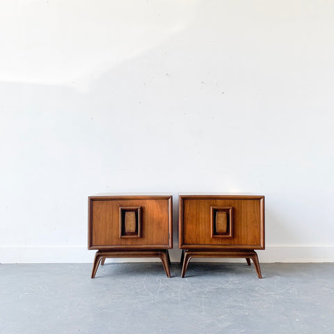 Pair of Mid Century Modern Sculpted Front Nightstands