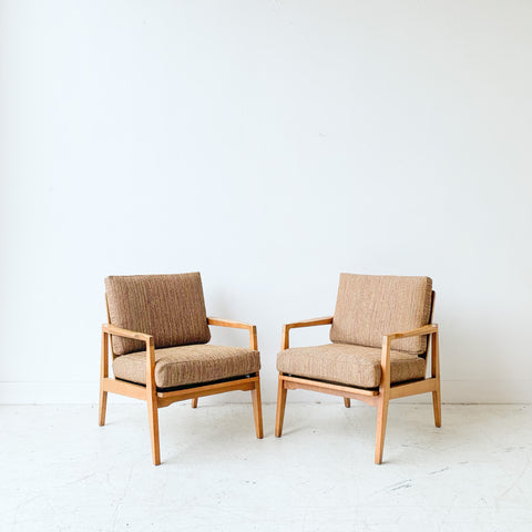Pair of Mid Century Lounge Chairs w/ New Upholstery