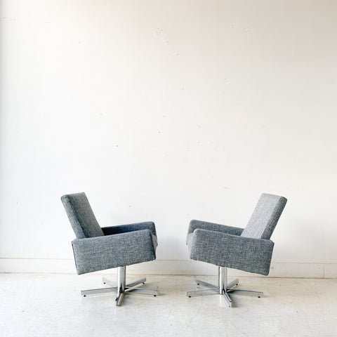 Pair of Chrome Swivel Lounge Chairs