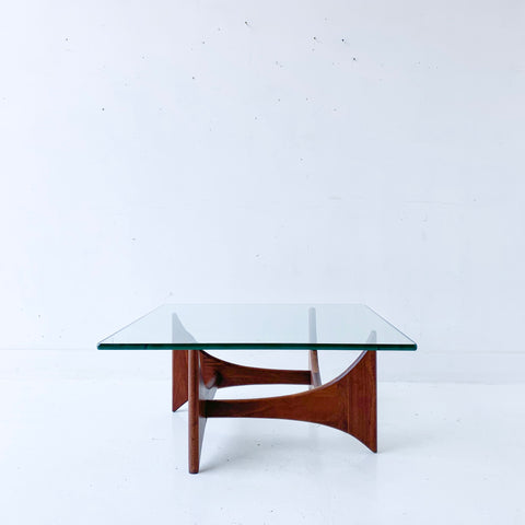 Mid Century Walnut and Glass Coffee Table by Adrian Pearsall