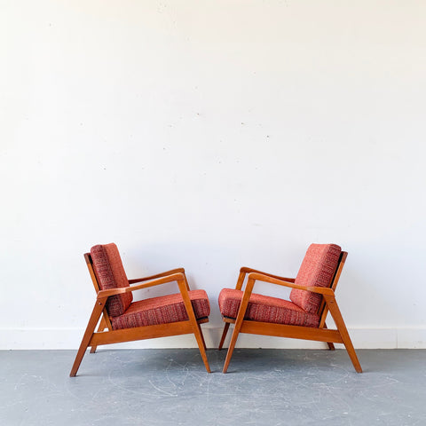 Pair of Mid Century Cherry Lounge Chairs