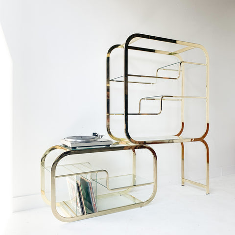 Vintage Glass and Brass Etagere