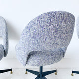 Set of 4 Swivel Chairs with New Upholstery