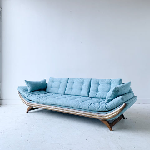 Mid Century Gondola Sofa with New Light Blue Upholstery
