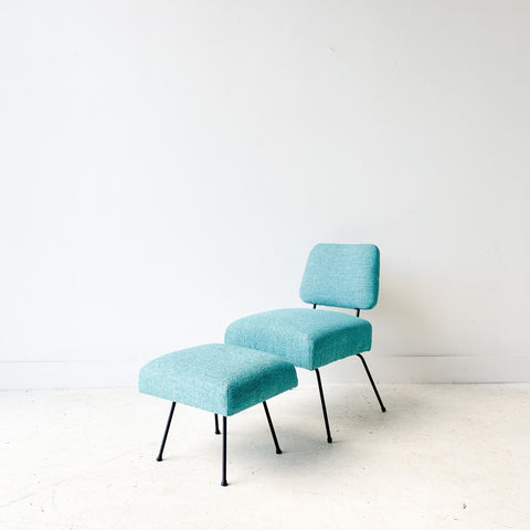 Mid Century Lounge Chair and Ottoman w/ New Sky Blue Upholstery