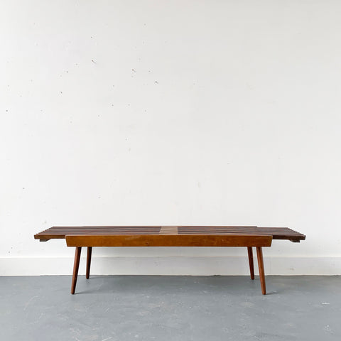 Mid Century Modern Expandable Slat Bench/Coffee Table