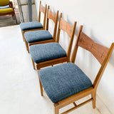 Set of 4 Lane Tuxedo Dining Chairs with New Upholstery