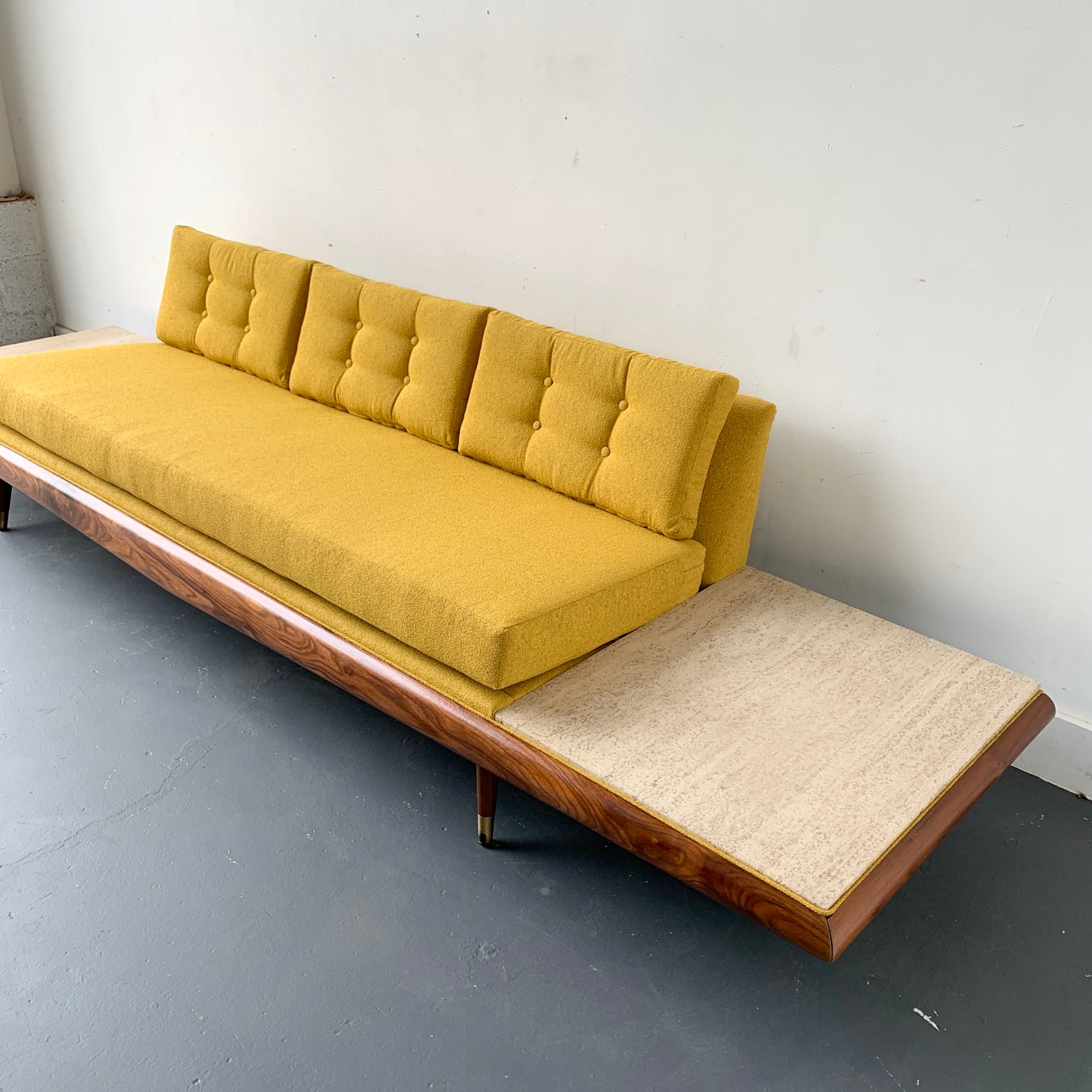 Adrian Pearsall Platform Sofa with Travertine End Tables