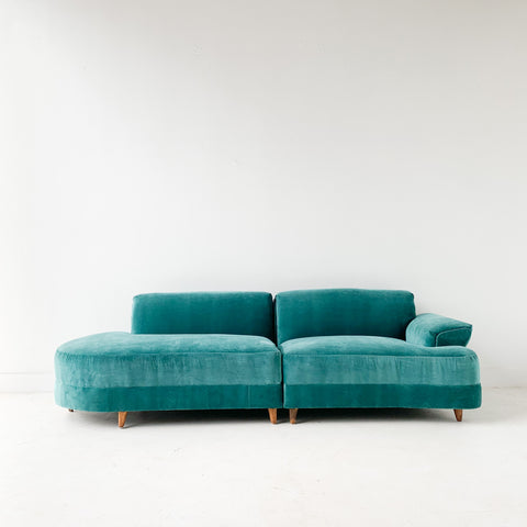 Mid Century 2 Part Sectional - New Velvet Upholstery