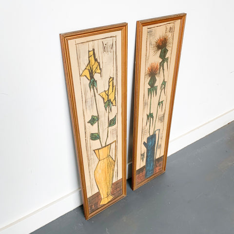 Pair of Mid Century Flower Art by Paillava