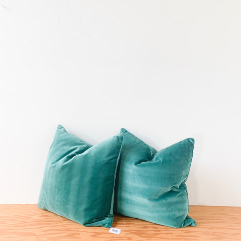 "Pair of 22"" Teal Velvet Pillows"