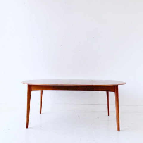 Mid Century Danish Teak Round Dining Table with 1 Leaf